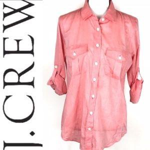 J. Crew Perfect Fit Coral cotton button-up medium